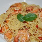italieniche Spaghetti mit Krabben